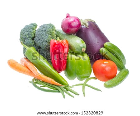 Assorted vegetables isolated on white background . - stock photo