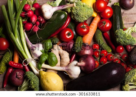 assorted Vegetables on wooden table - stock photo