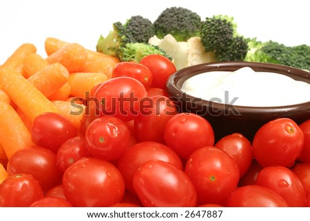 assorted vegetables w/dip - stock photo