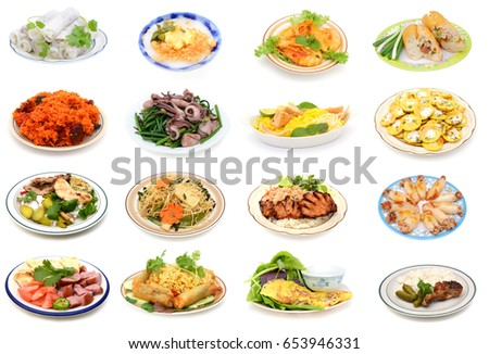 Assorted Vietnamese food plate on white