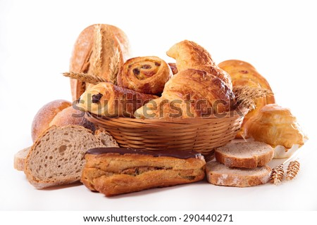 assortement of bread and pastry - stock photo