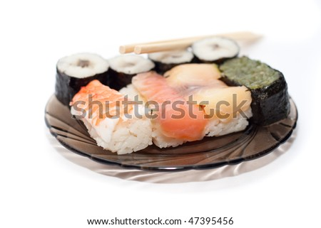 assortement of japanese sushi with soft focus