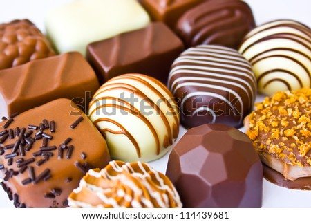 Assortment belgian chocolate praline sweets