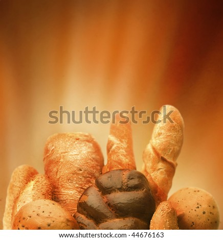 Assortment Bread Border - stock photo