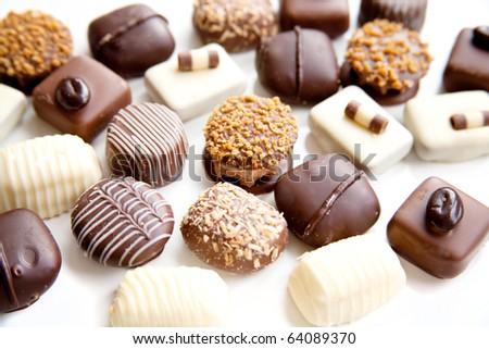 assortment chocolate praline sweets - stock photo
