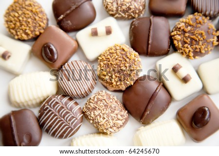 assortment chocolate praline sweets - stock photo