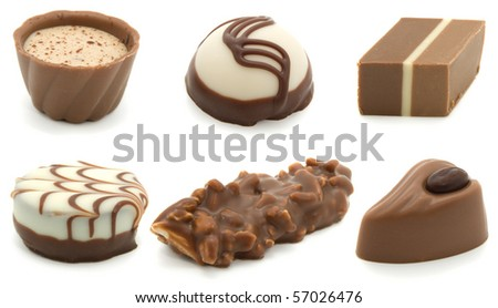 assortment chocolate pralines, isolated on white background - stock photo