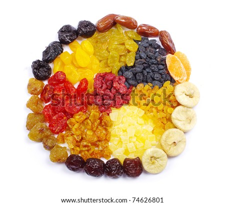 assortment dried fruits on white - stock photo