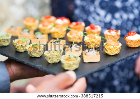Assortment festive appetizers with bread, salmon, tapas - stock photo