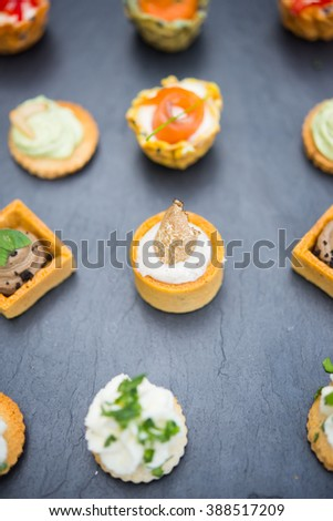 Assortment festive appetizers with tapas - stock photo
