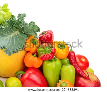 Assortment fresh fruit and vegetables isolated on white - stock photo