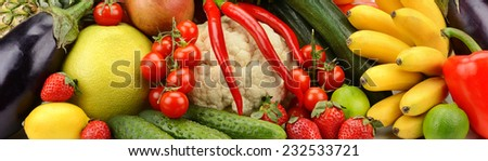 assortment fresh fruits and vegetables - stock photo