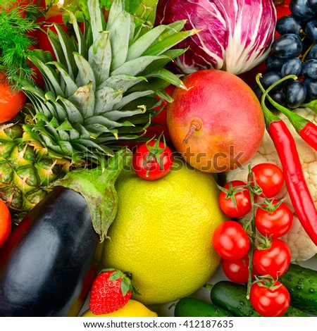 assortment fresh fruits and vegetables isolated on white - stock photo
