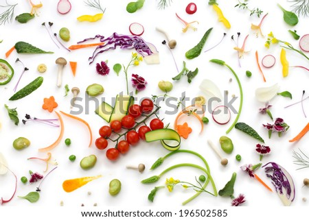 assortment fresh vegetables on white background, healthy eating concept - stock photo
