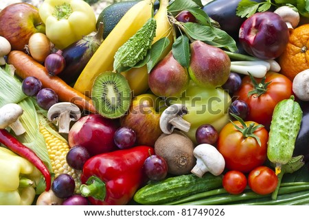 Assortment  from vegetables and fruits isolated on white - stock photo