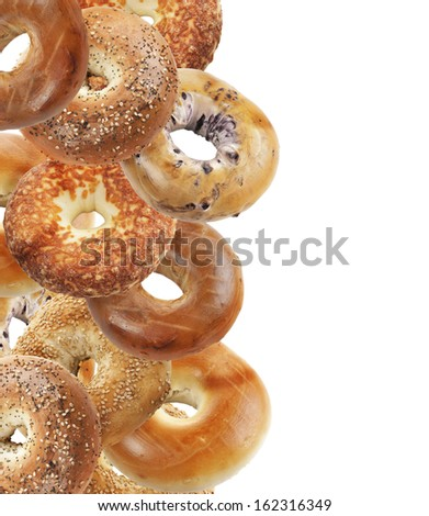 Assortment Of Bagels Isolated On White Background - stock photo