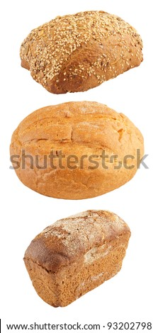 Assortment of baked bread isolated on white - stock photo