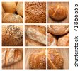 assortment of baked bread on a collage - stock photo