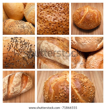 assortment of baked bread on a collage