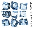 Assortment of 9 blue ice cubes isolated on white - stock photo