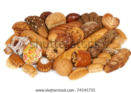 Assortment of bread and pastry composed on the table
