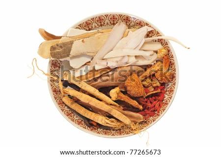 Assortment Of Chinese Herbal Ingredient - stock photo