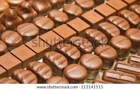 assortment of chocolates in the shop