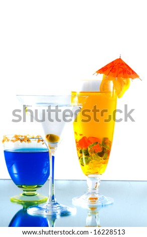 Assortment of cocktails with fruit