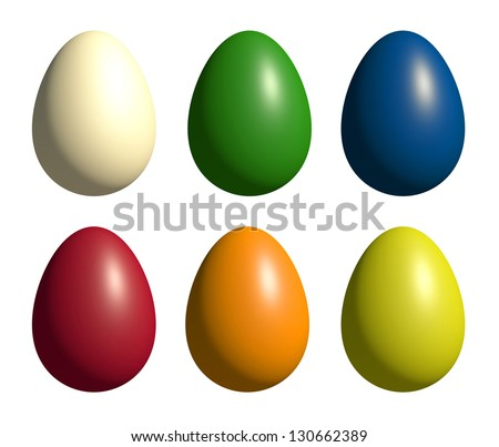 Assortment of colored easter eggs - isolated on white - stock photo