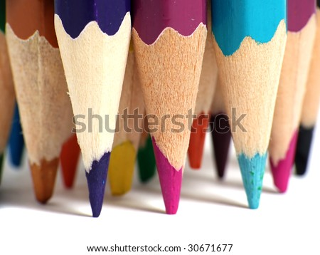 Assortment of colored pencils - stock photo