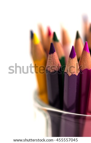 Assortment of colored pencils/Colored Drawing Pencils/Colored drawing pencils in a variety of colors closeup - stock photo