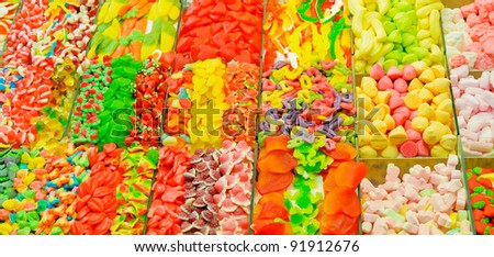 Assortment of colorful candies at the candy shop - stock photo