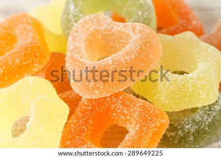 Assortment of colorful fruit jelly candies  - stock photo