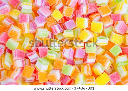 Assortment of colorful fruit jelly candy background - stock photo