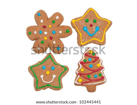 Assortment of colorful gingerbread cookies, on white - stock photo