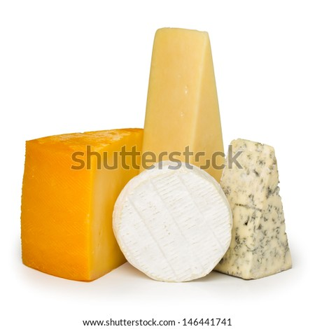 Assortment of different cheese types isolated on white background - stock photo