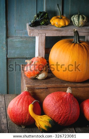Assortment of different edible and decorative pumpkins on wooden chest over wooden background.  - stock photo