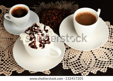 Assortment of different hot coffee drinks close up - stock photo