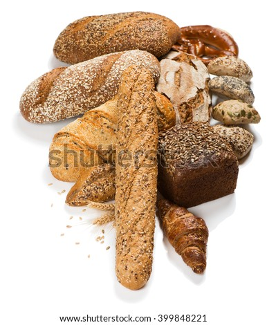 Assortment of different kind of cereal bakery: bread, pasties, buns and croissants isolated on a white background. - stock photo