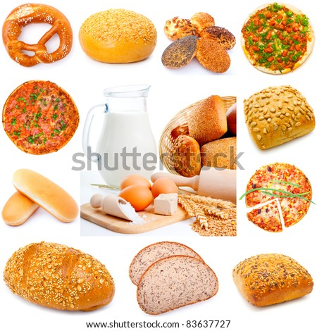 Assortment of different types of bread isolated on white background, - stock photo