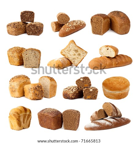 Assortment of different types of bread isolated on white background, done in studio. - stock photo