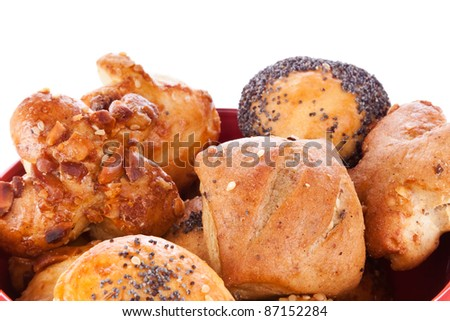Assortment of different types of pastry, isolated on white background - stock photo