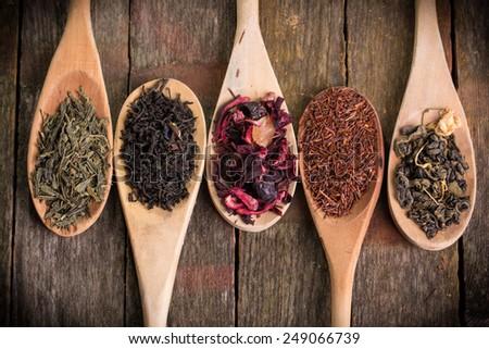 assortment of dry tea - stock photo