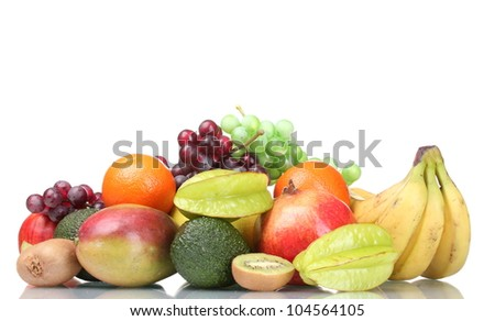 Assortment of exotic fruits isolated on white - stock photo
