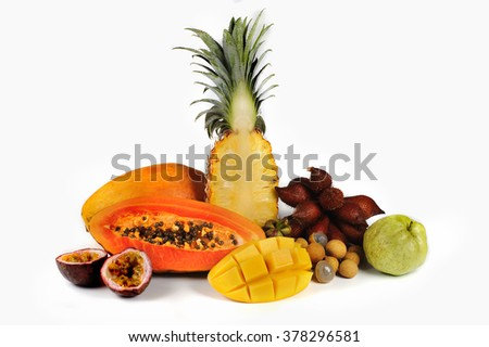 Assortment of exotic fruits isolated on white background  - stock photo