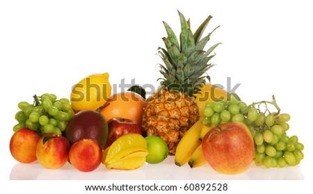 Assortment of exotic fruits, isolated on white background - stock photo