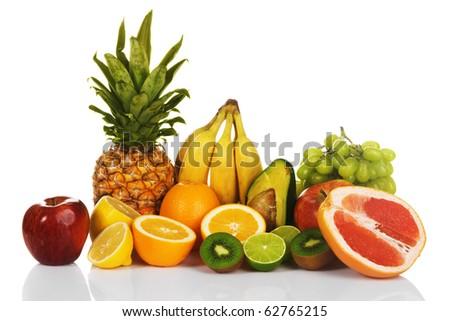 Assortment of exotic fruits, white background - stock photo