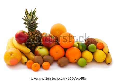 Assortment of exotic tropical fruits isolated on white - stock photo
