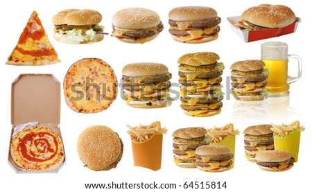 Assortment of fast food isolated on white background - stock photo