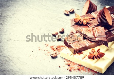 Assortment of fine chocolates and pralines with copyspace - stock photo